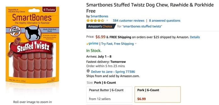 SmartBones.StuffedTwistz.pork